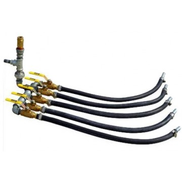 Heavy Duty Air Manifolds - Valve Manifold Splitters with Pressure Gauge and Pressure Relief Valve